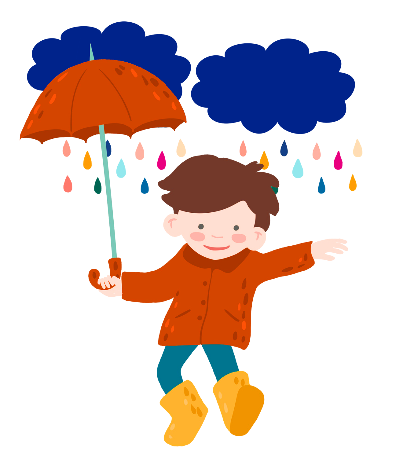 boy in rain with umbrella
