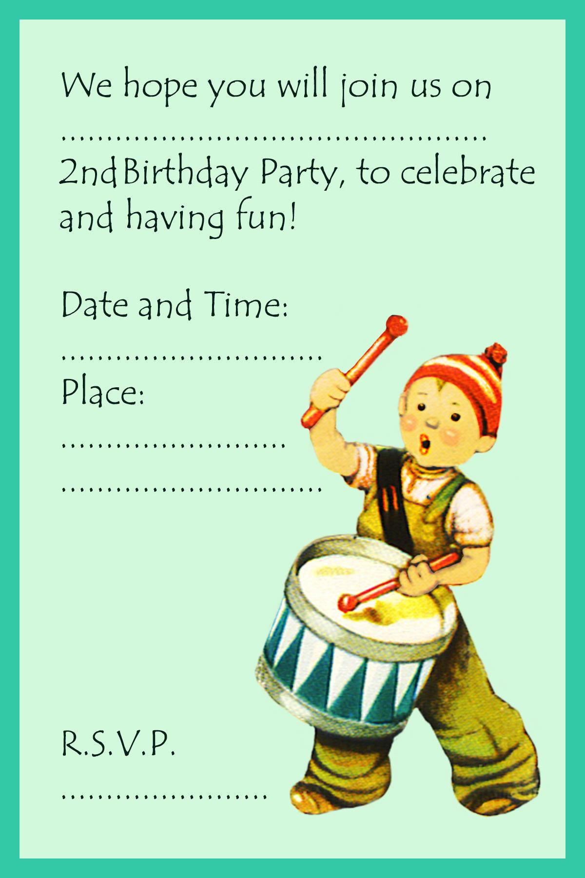 boy birthday invitation 2nd birthday