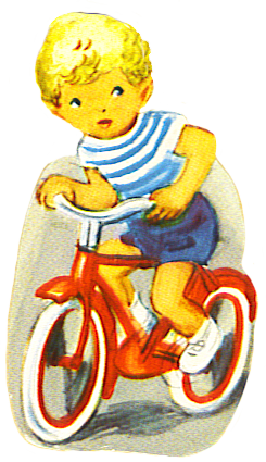 scrap image of boy on bike