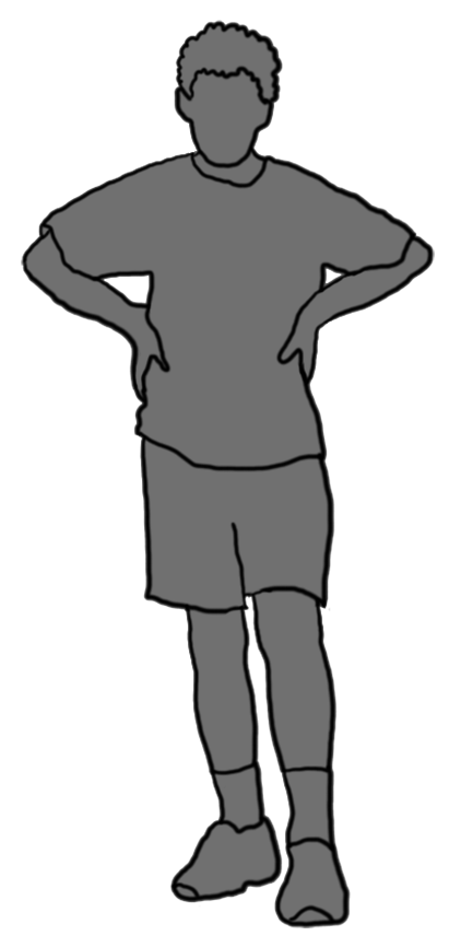 grey silhouette boy standing