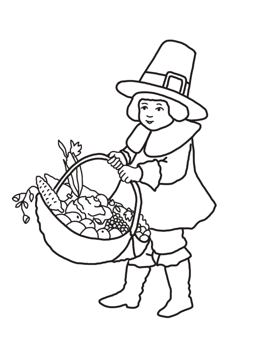 pilgrim boy with Thanksgiving basket with fruit