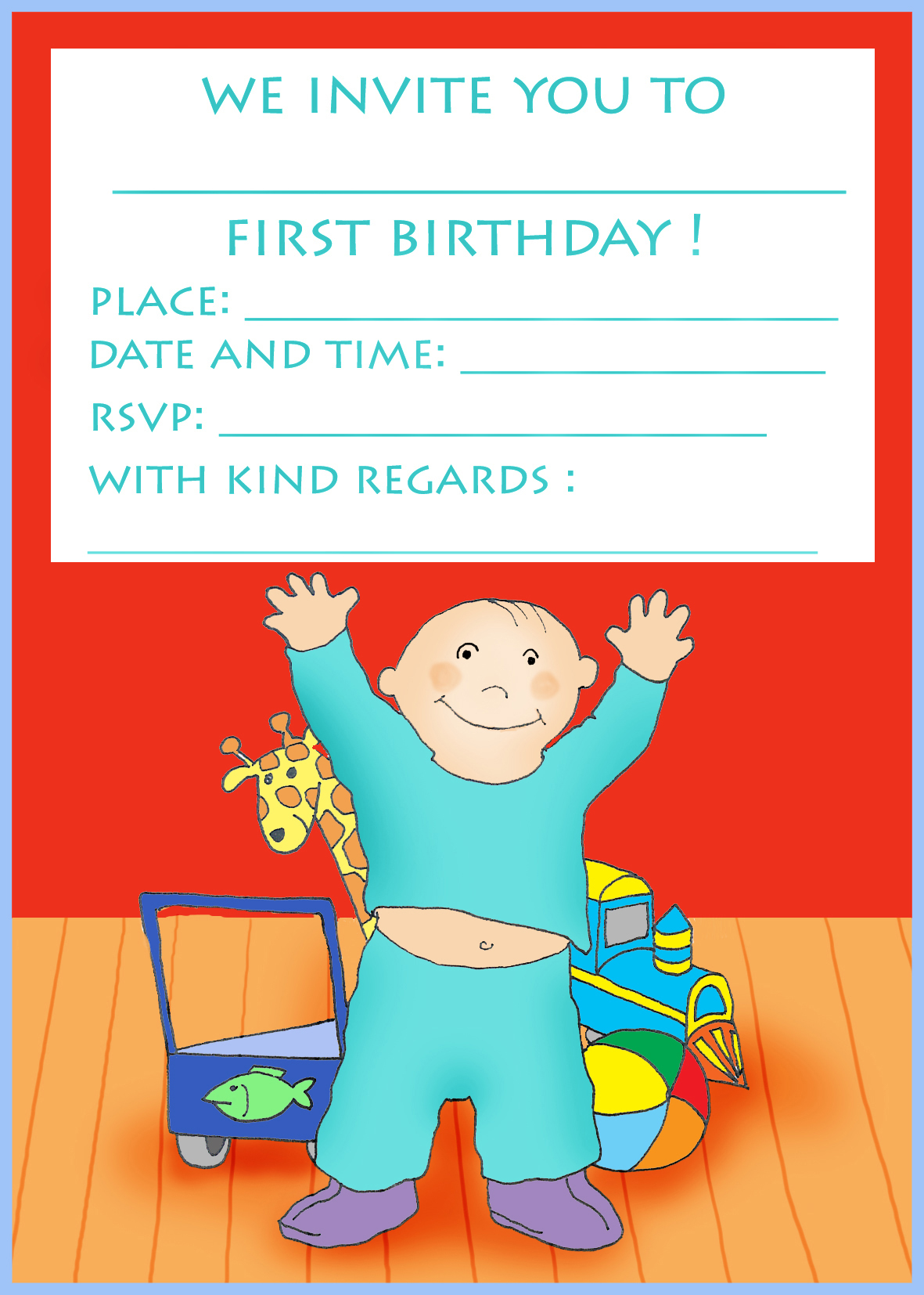 first birthday party invitation for boy and toys