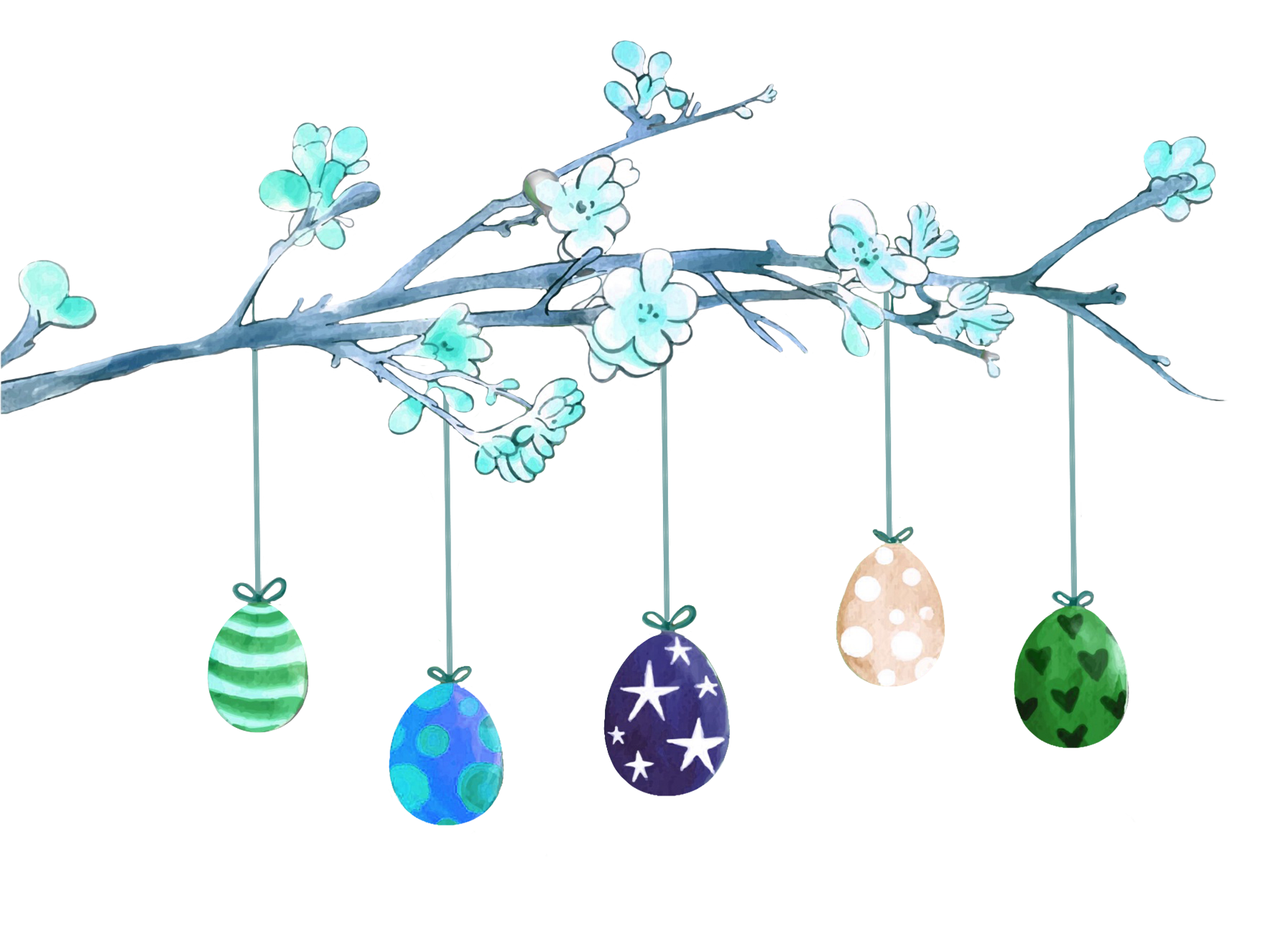 branch with Easter eggs