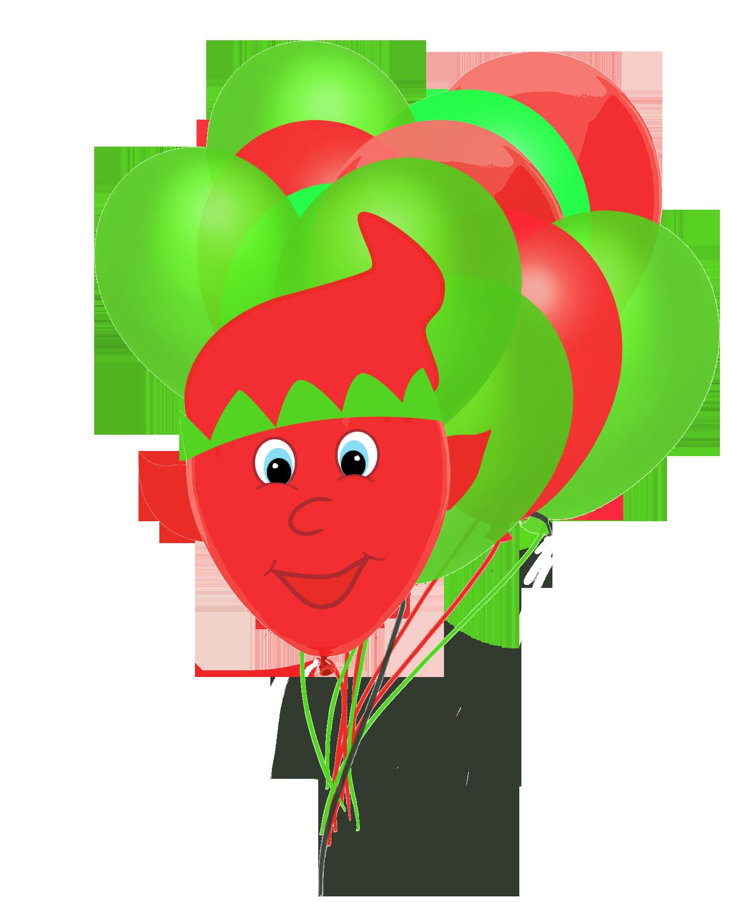 elf balloon and Christmas balloons