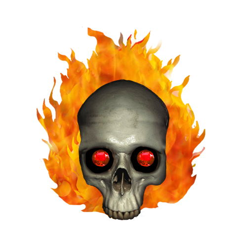 burning skull with ruby eyes