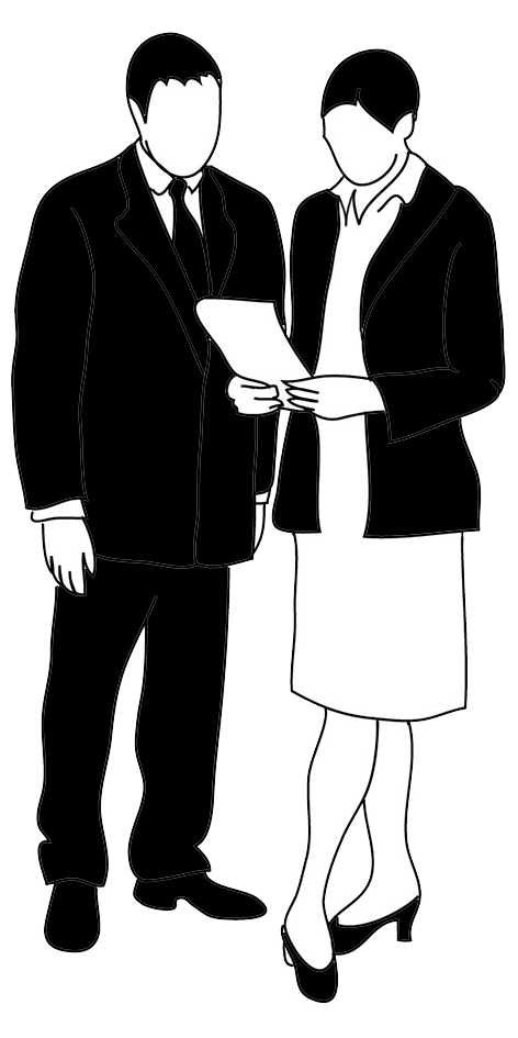 business man and business woman talking