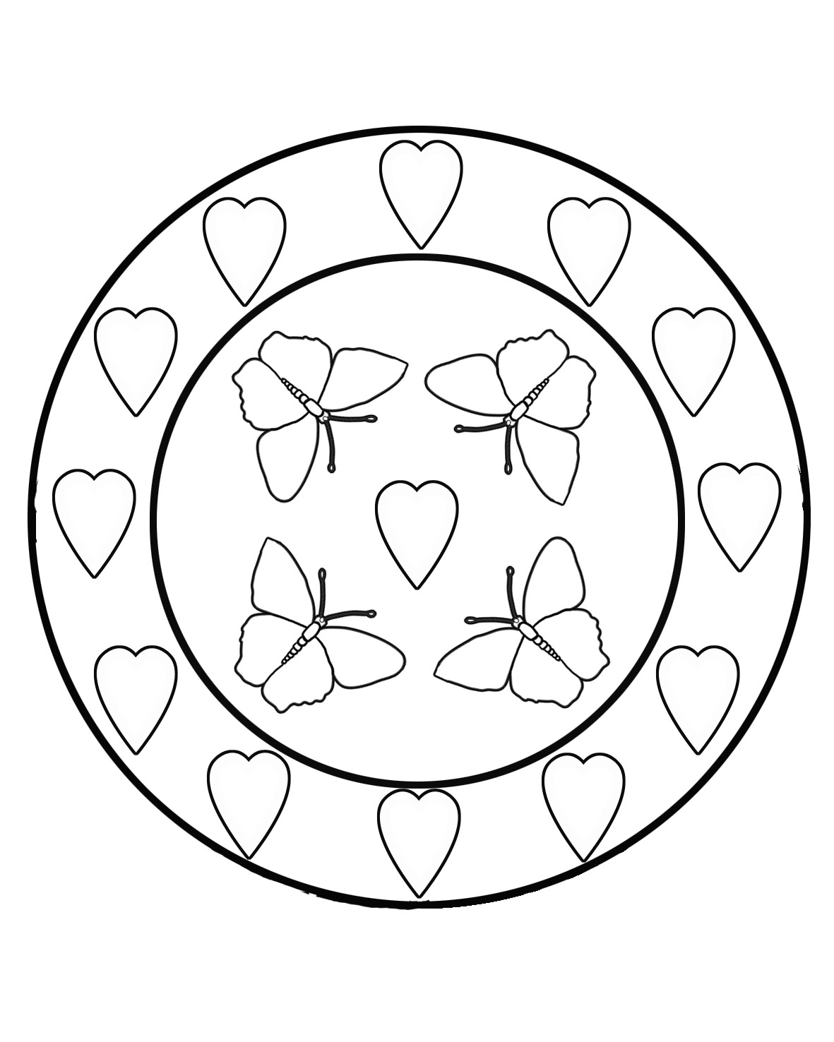 butterfly coloring pages with hearts