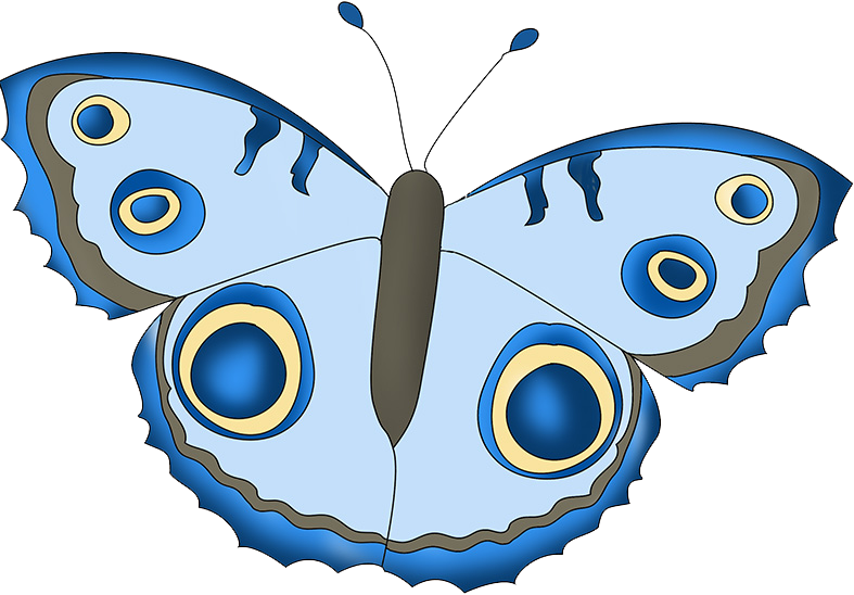 blue fantasy colored butterfly clipart