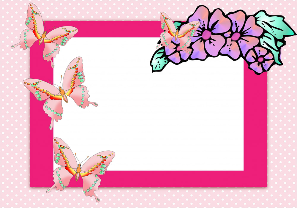 Pink frame with pink butterflies and flowers