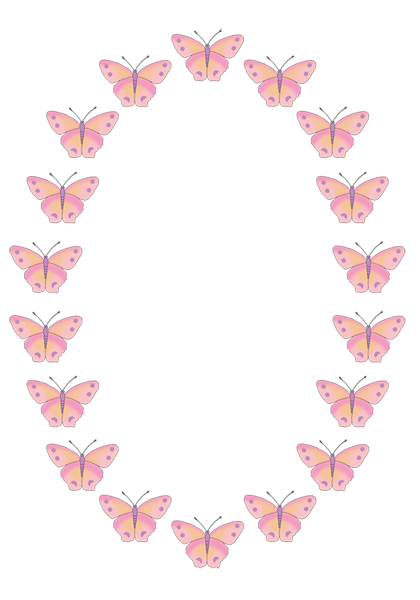 Oval pink butterfly frame