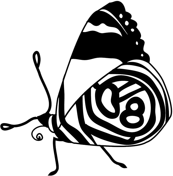 black white clipart butterfly resting