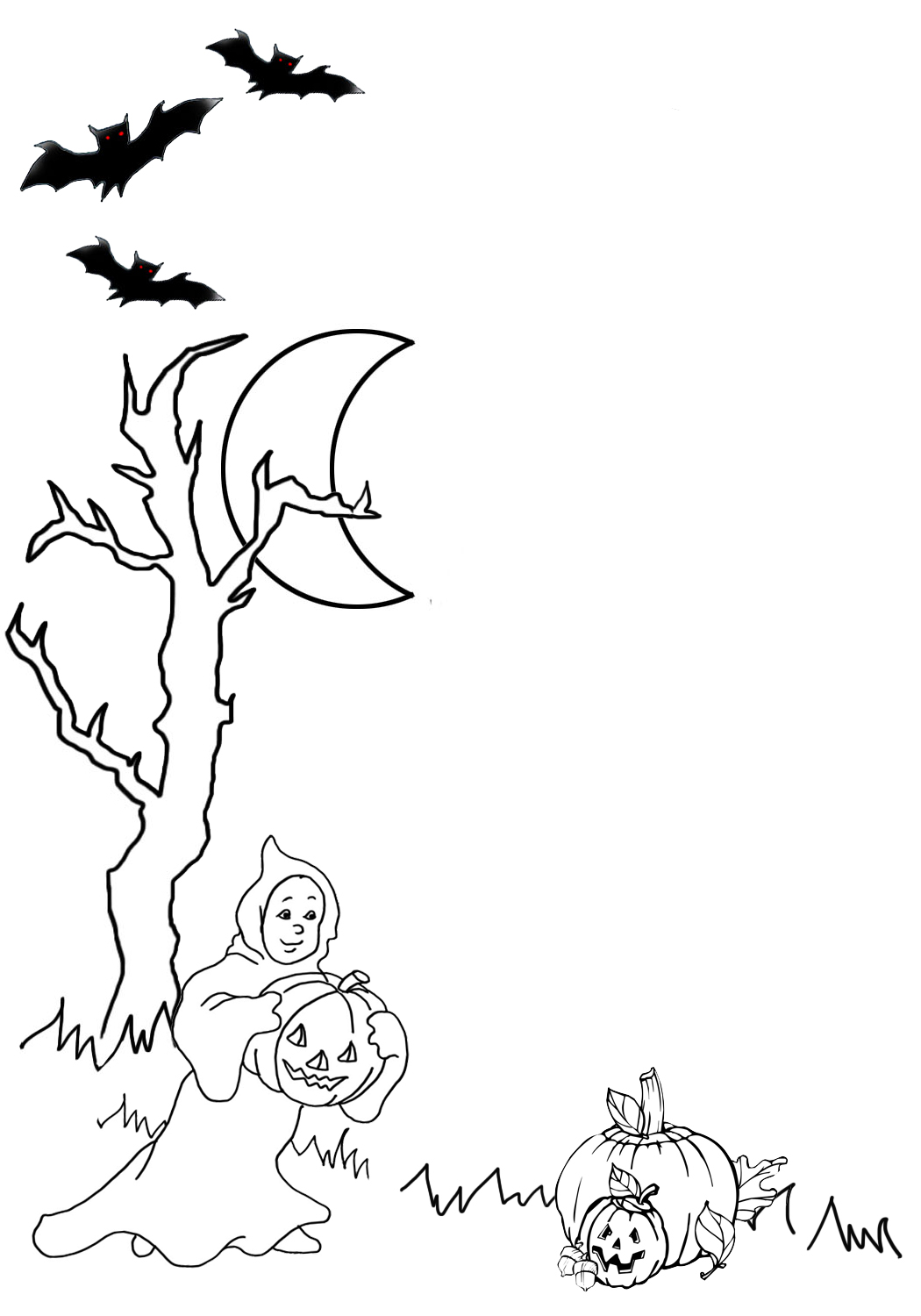 Cute Halloween frame with ghost pumpkin bat tree