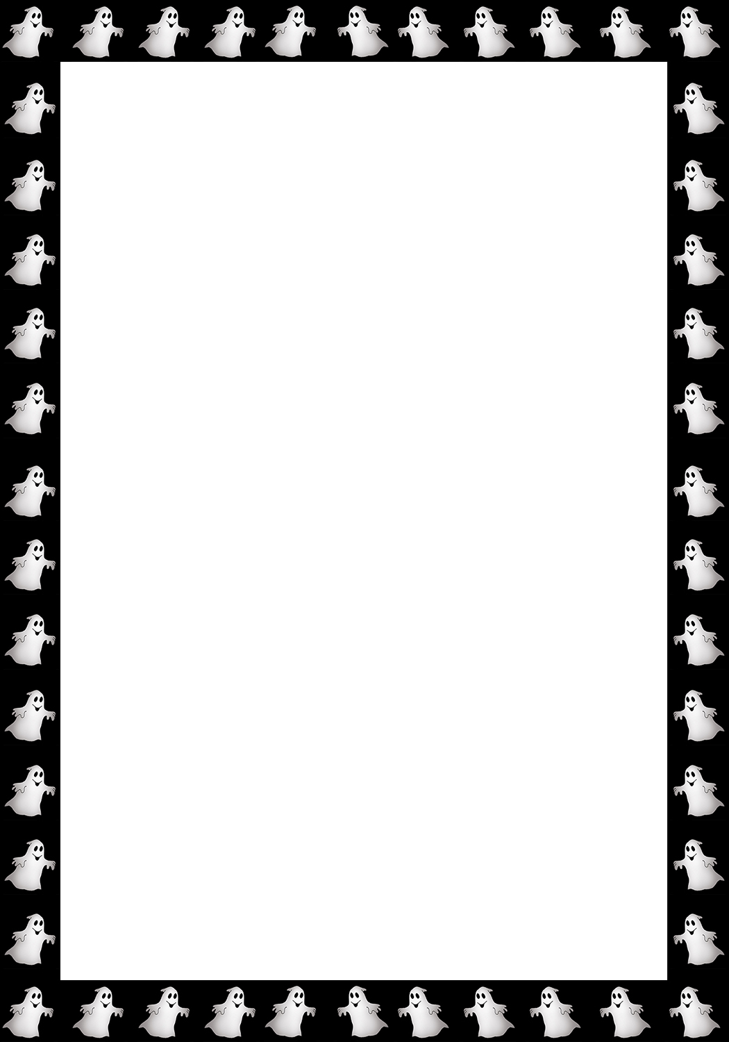 Halloween borders and frames halloween frame with little ghosts jeuxipadfo Choice Image