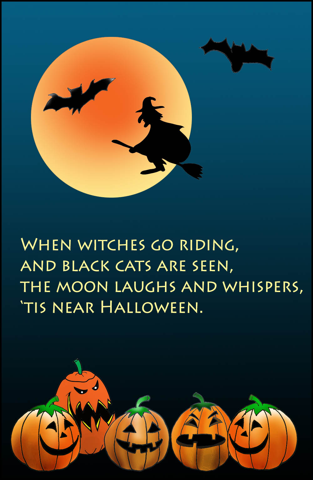 halloween card with witches moon and bats