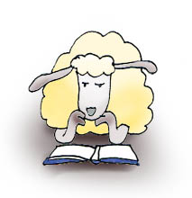 cartoon sheep reading book