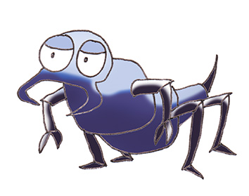 crawling cartoon insect