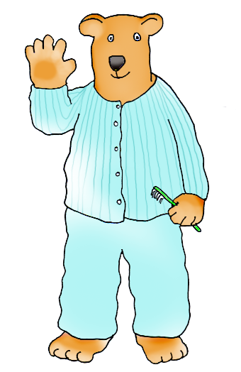 cartoon bear with toothbrush