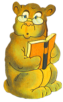 Reading bear with glasses