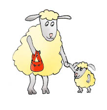 cartoon drawings of animals sheep lamb red purse