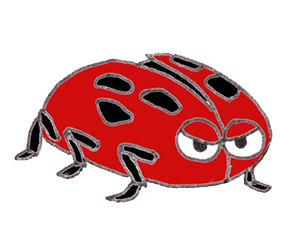 small red insect cartoon