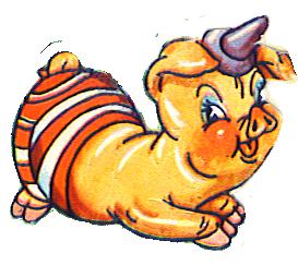 Stupid pig cartoon drawing