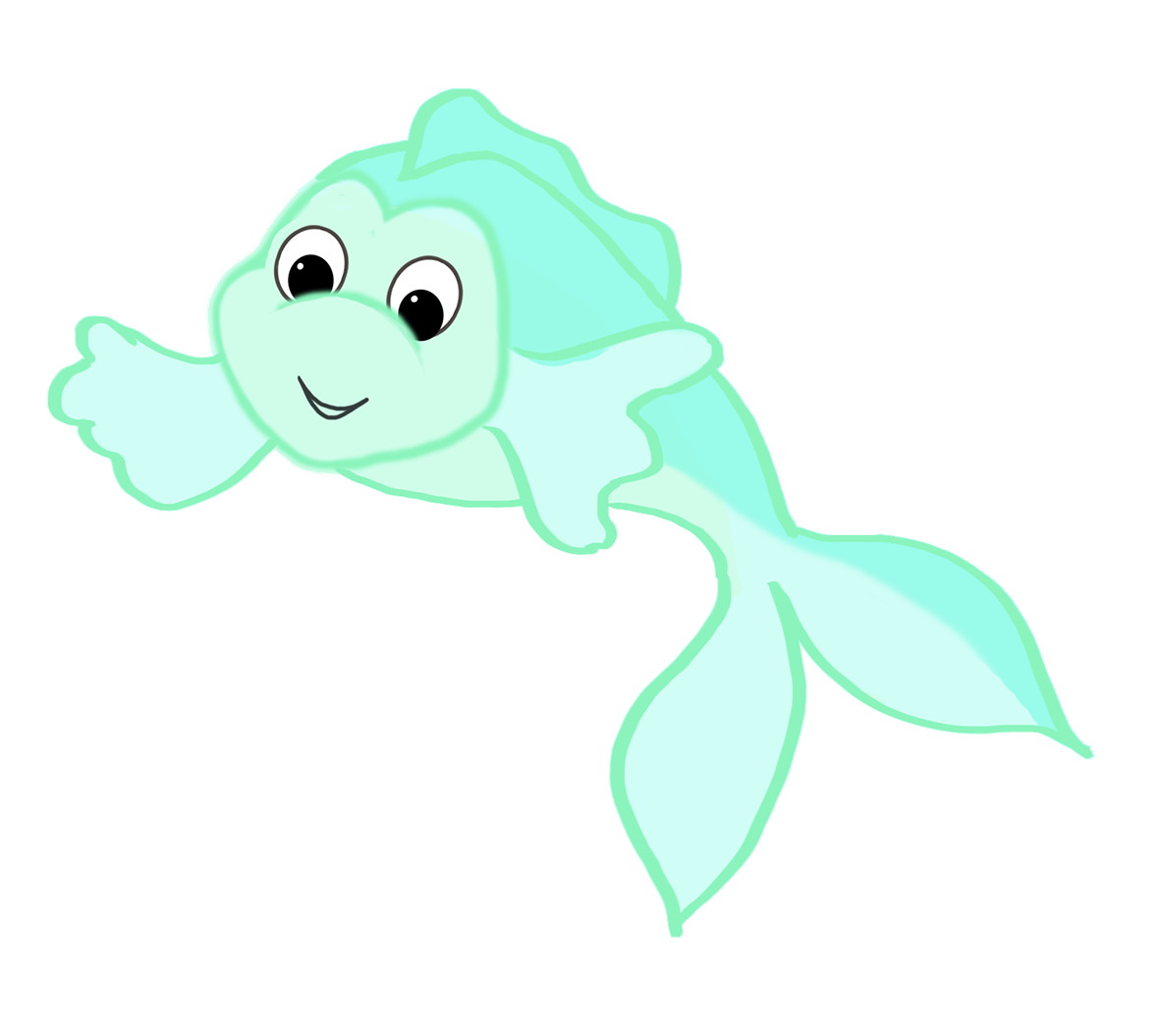 cute green cartoon fish