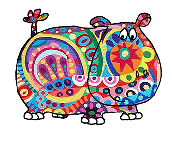 hippo with many colors