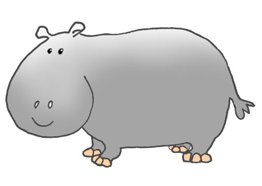 side view of cartoon hippo