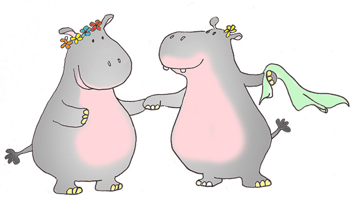 Two hippos with flowers in the summer