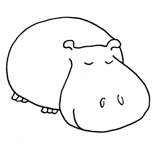 sleeping hippo black white drawing