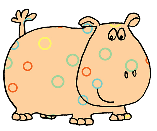 hippo clip art with pattern