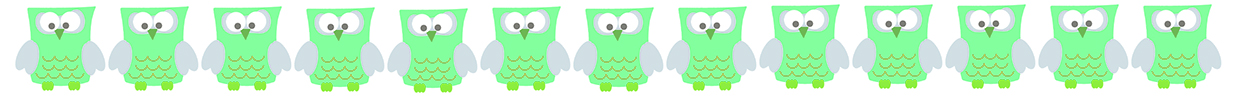 green border with owl pictures
