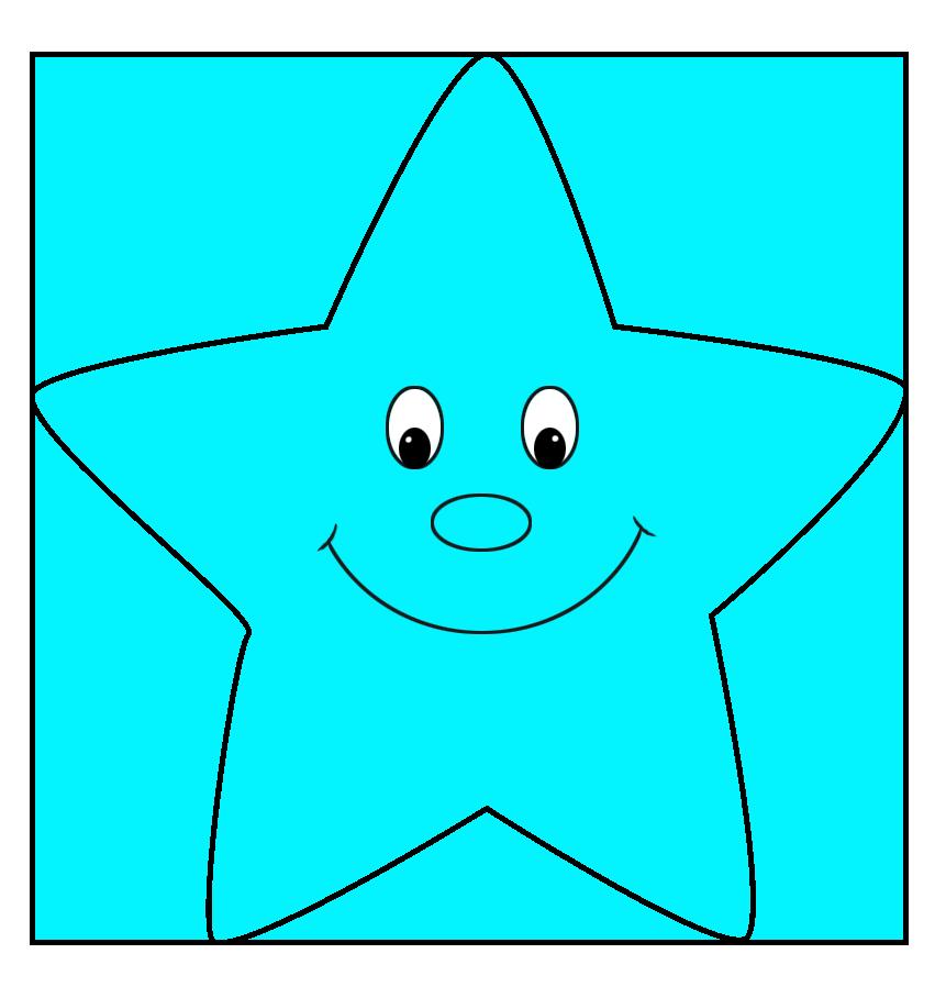 light blue star cartoon style