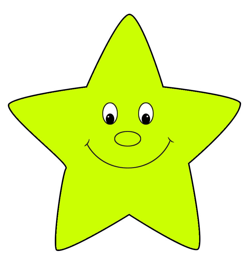 neon green cartoon star cute