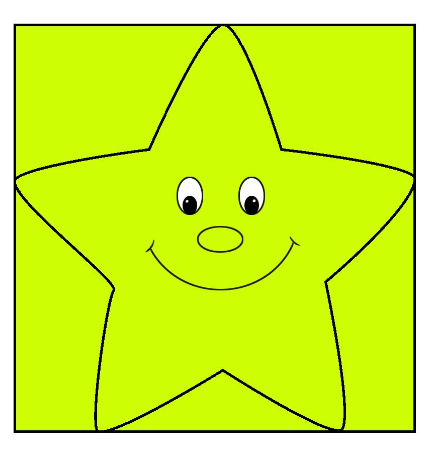 neon green cartoon star cute