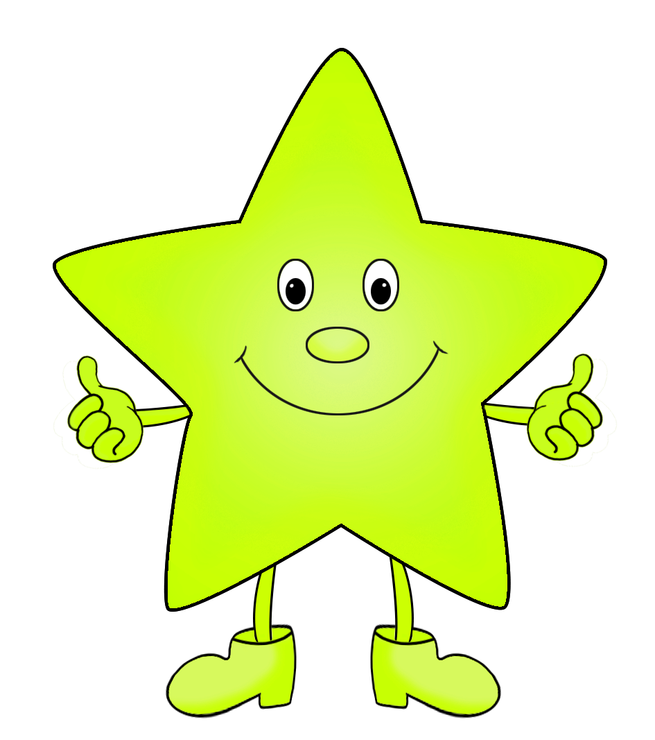 light green funny clip art of star