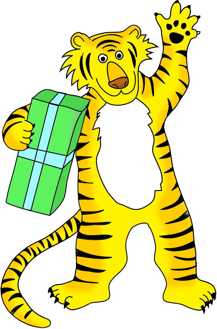tiger cartoon with present