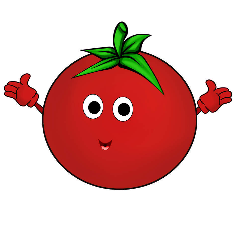 cartoon tomato with hands