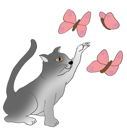 cat catching butterflies clipart