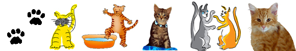 cat clip art border with different cats
