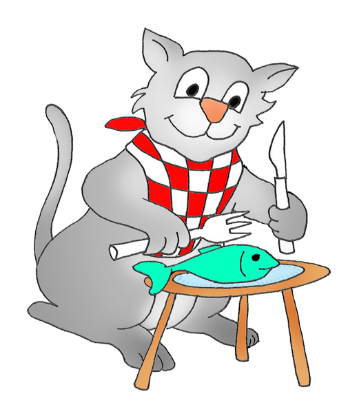 cat eating a fish clipart