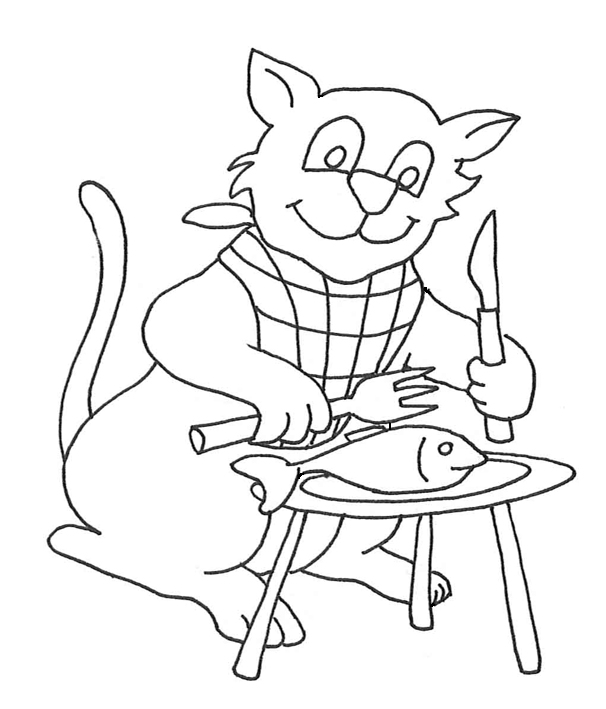 cat eating a fish with knife and fork