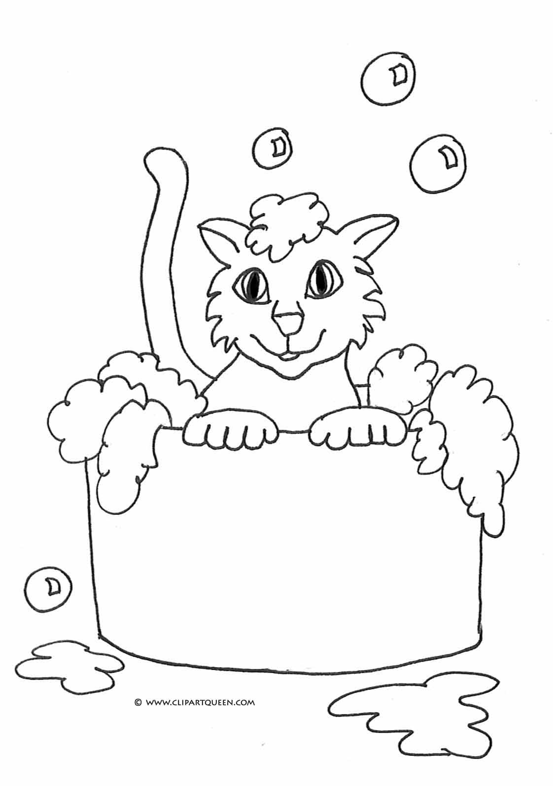 cat coloring pages cat taking a bath