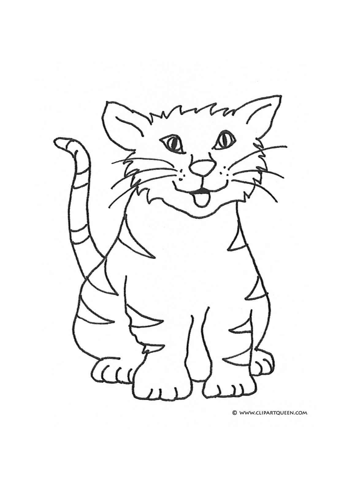 Cat Coloring Pages Happy Tongue