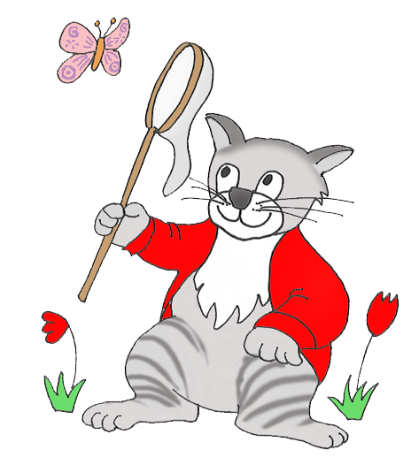 cat hunting butterfly clipart