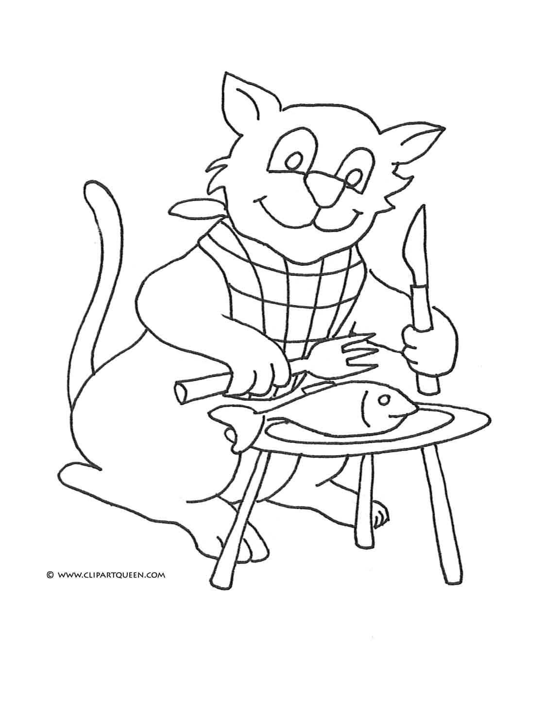 cat coloring page cat eating fish with fork