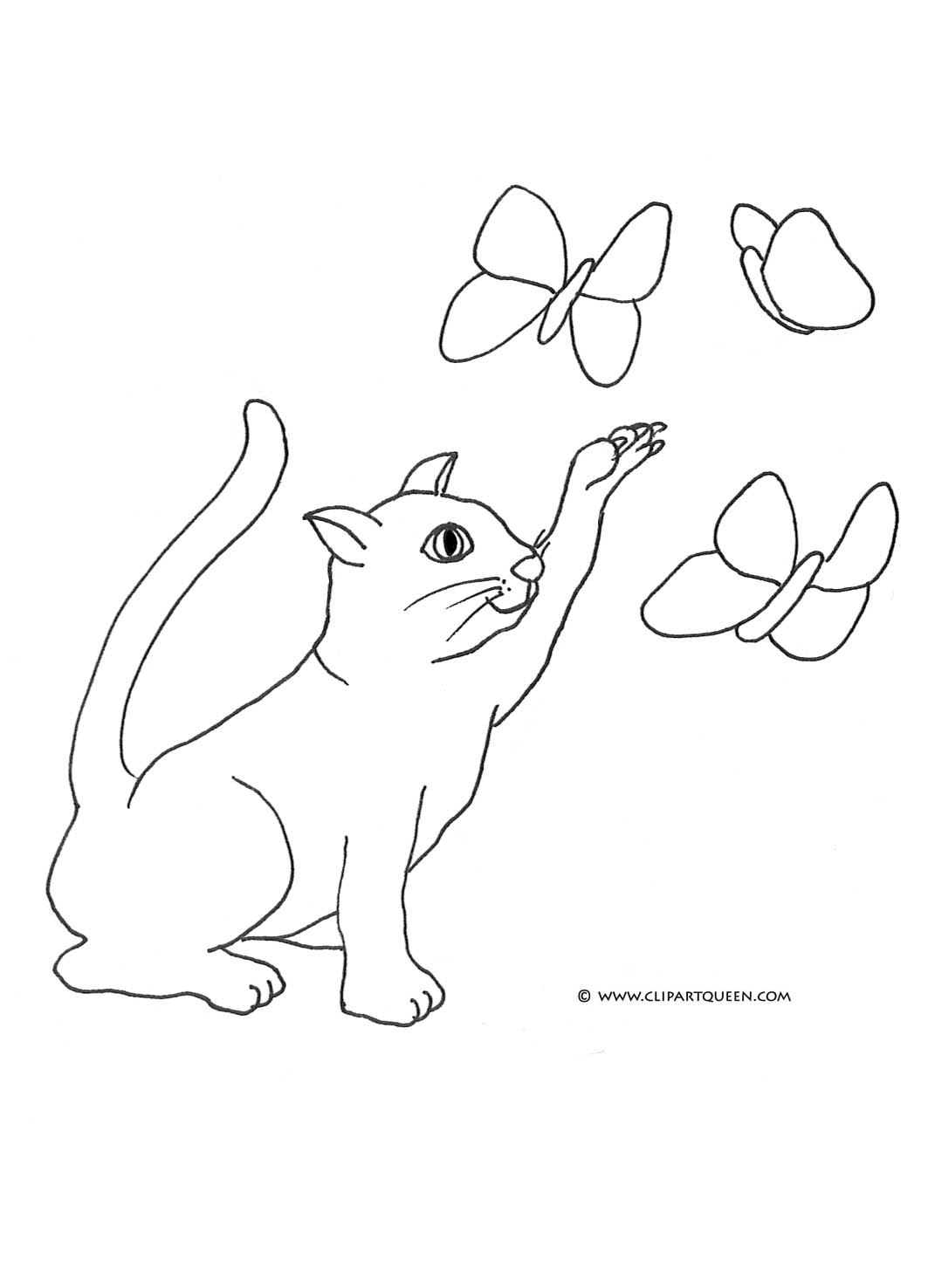 Cat coloring pages cat catching butterflies