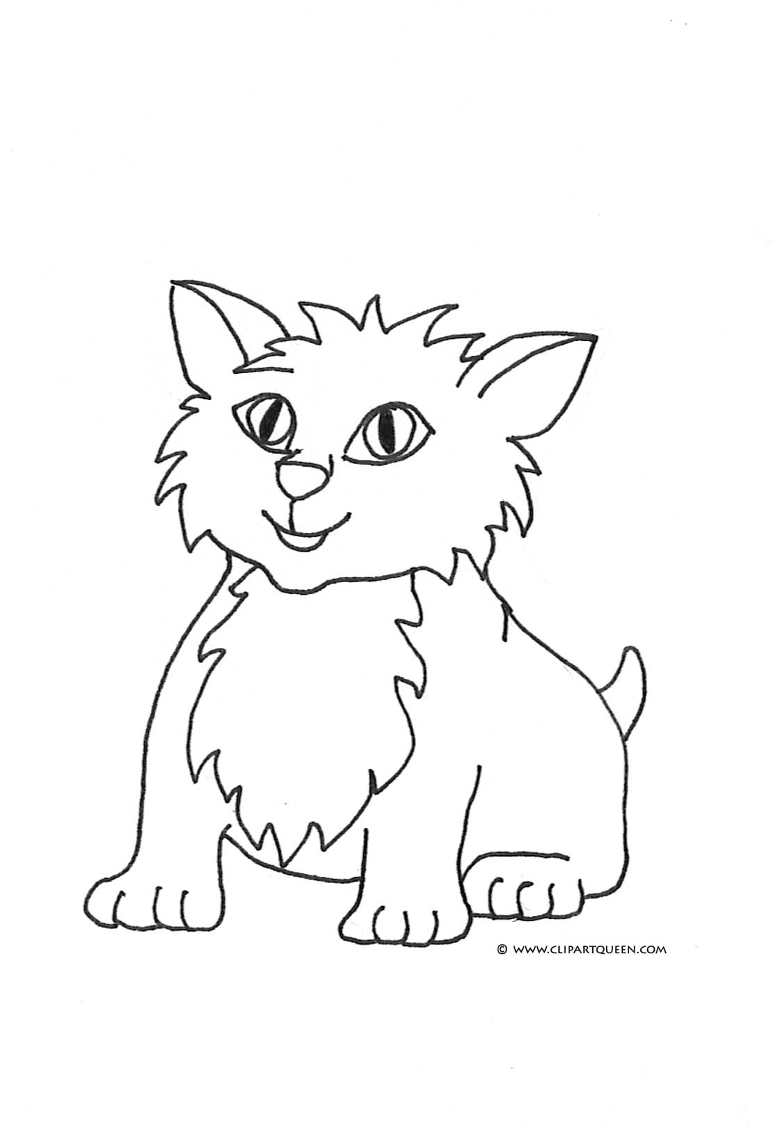 coloring pages cat small kitten cute