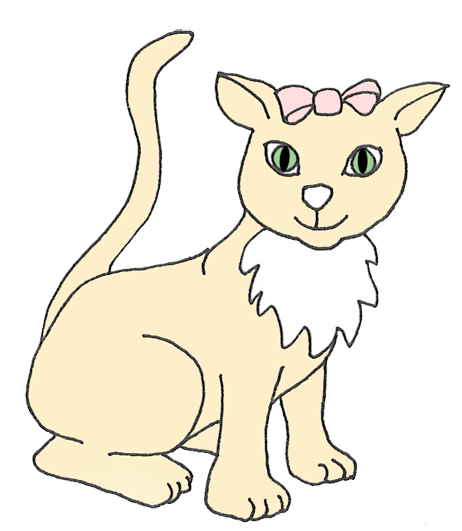 cat with big green eyes and bow