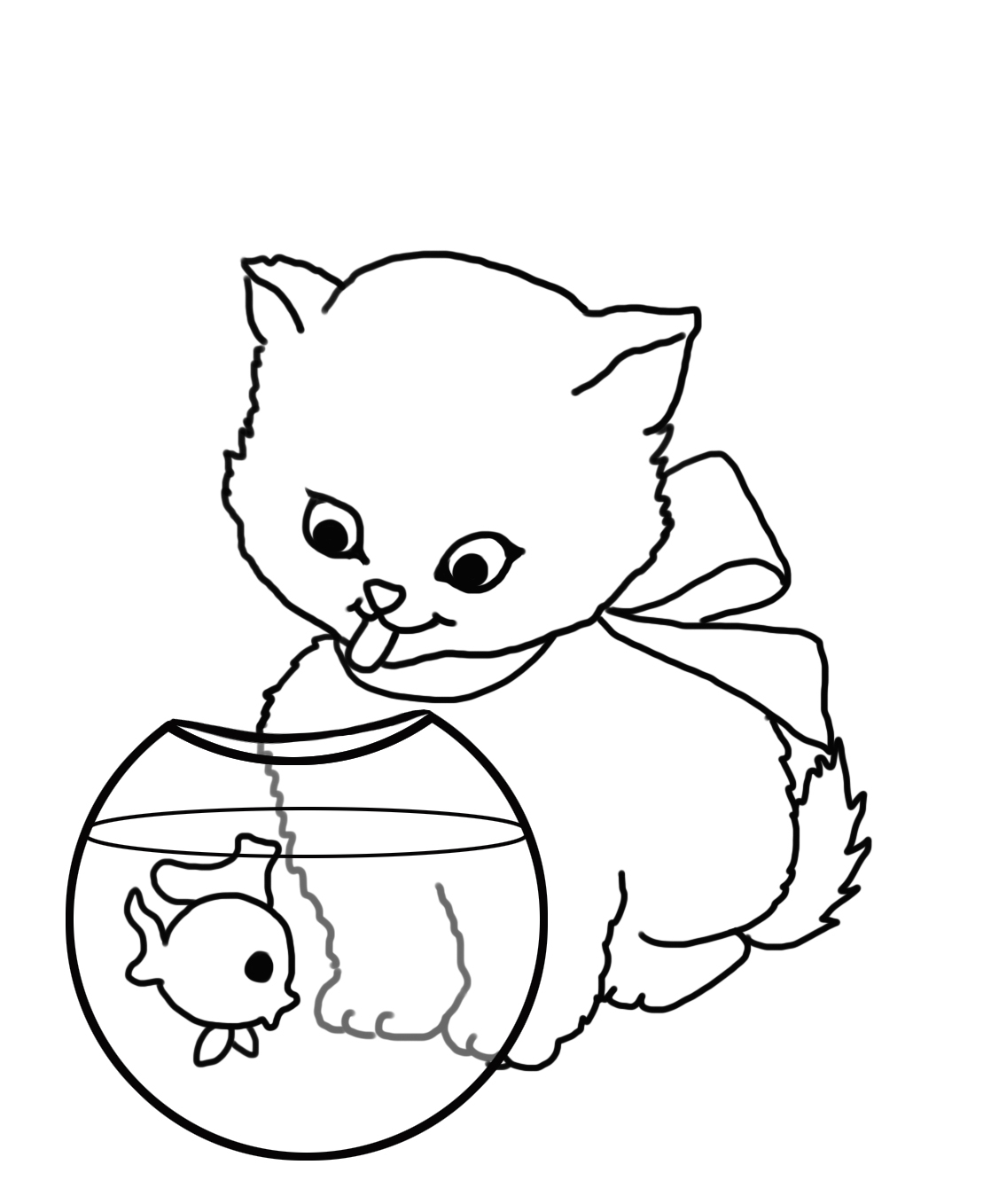 cat looking at fish bowl